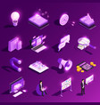 marketing glowing icons collection vector image vector image