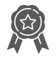 medal glyph icon award and achievement badge vector image