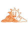 outlined sunny face smiling behind a cloud vector image vector image