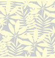 pale ivory color tropical leaves seamless pattern vector image vector image