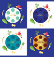 passover seder plates with food vector image vector image