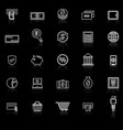payment line icons with reflect on black vector image vector image