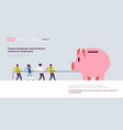 people team pulling rope piggy bank money growth vector image vector image