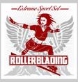 rollerblading - emblem roller on vector image