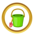 Sand bucket and shovel icon vector image vector image