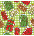 Seamless pattern with homemade pickles vector image