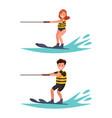 set man and woman water-ski vector image