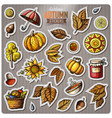 set of autumn season cartoon stickers vector image vector image
