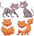 Set of cute cats thin and fat vector image vector image