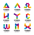 set of logos from abstract modules vector image