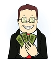 Smiling man in suit and glasses holding dollars vector image vector image