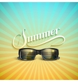 Summer retro label with sunglasses vector image vector image