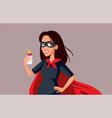superhero mom holding babottle vector image vector image