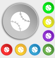 Tennis ball icon sign Symbol on eight flat buttons vector image