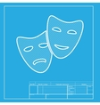 Theater icon with happy and sad masks White vector image vector image