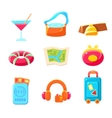 Travel Themed Objects Colorful Simplified Icons vector image