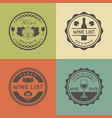 wine shop vintage round colored labels vector image