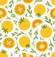 Yellow tomatoes pattern vector image vector image