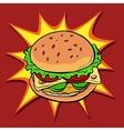 Burger fast food retro pop art vector image