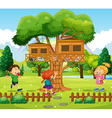 Three kids playing at the treehouse vector image