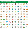 100 economy icons set cartoon style vector image