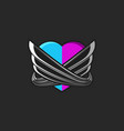 a stylized heart consisting of two unified halves vector image vector image