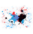 abstract splatter blue red and black color vector image vector image