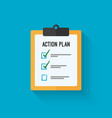 Action plan clipboard icon design over a blue vector image vector image