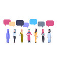arabic women group with chat bubbles over white vector image vector image