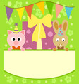 background card with funny pig and rabbit vector image vector image