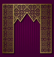 background with golden patterned arched frame vector image vector image