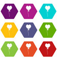 balloon in the shape of heart icon set color vector image