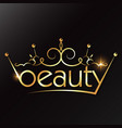 beauty salon gold crown design vector image vector image