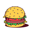 big classic burger on white background vector image vector image