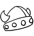 black and white viking helmet vector image