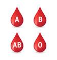 blood type set isolated on white background vector image