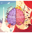 Brain Right Left Sides Cartoon Poster vector image vector image