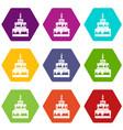 cake icon set color hexahedron vector image vector image