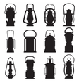 Camping Lantern Silhouettes vector image vector image