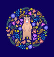 card with bear and flowers vector image vector image