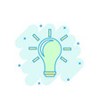 cartoon colored light bulb icon in comic style vector image vector image