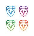 colorful diamond shield logo design set vector image vector image