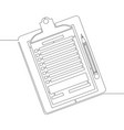 continuous line one drawing clipboard with pencil vector image vector image