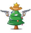 cowboy christmas tree character cartoon vector image vector image