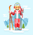 cute skier girl ski winter sport resort holidays vector image vector image