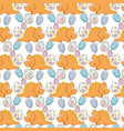 cute triceratops and eggs pattern vector image vector image