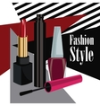 fashion style cosmetics mascara lipstick and nail vector image vector image