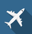flat design modern airplane icon with long vector image
