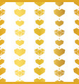 golden yellow geometric hearts seamless pattern vector image