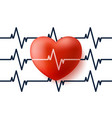 heart and pulse 3d with cardiogram vector image